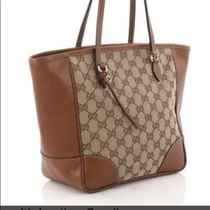 NEW Gucci Bree Canvas/Leather Beige-Ebony tote
